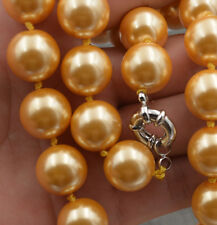 """shell Pearl Necklace 18"""" Aaa New charmming 14mm Gold South Sea"""