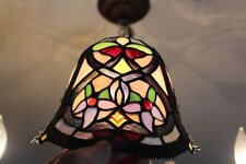 Vintage Slag Glass Lamp Shade Multi Color Flowers #2 Slag Shade
