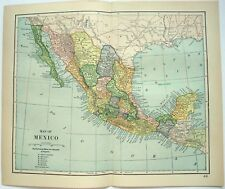 Original 1893 Map of Mexico by Dodd Mead & Company