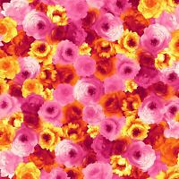 Fabric Roses Packed Pinks Yellows TIMELESS TREASURES Cotton 1/4 Yard 7938