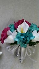 Teal Magenta & White Cala Lilies Silk Wedding Bouquet & Bout Rush Available