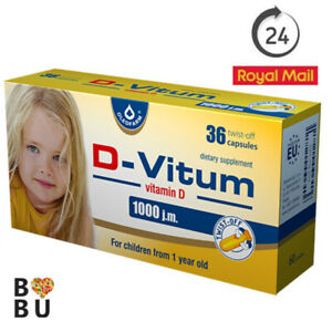 D-VITUM Vitamin D3 1000 IU 36 Twist-off capsules for kids 1+ ORIGINAL OLEOFARM