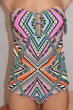 5e245cbcb0 NWT Jessica Simpson Swimsuit Bikini 2 pc set Sz L Multi Tankini Strapless