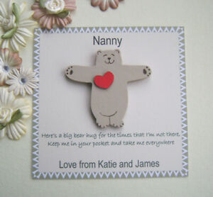 Personalised  Bear Pocket Hug Isolation Token/gift. family/friends. send a hug