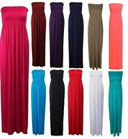 Women Strapless Bandeau Boobtube Sheering Plain Ladies Long Maxi Dress