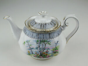 Small 4 Cup Teapot  Royal Albert Silver Birch vintage bone china England
