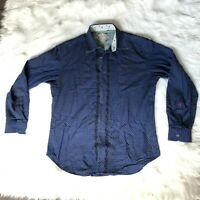 Robert Graham Button Front Shirt Blue Embroidered Men's Size XL