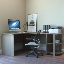 Ryan Rove Kristen Corner L-Shaped Computer Desk in Salt Oak