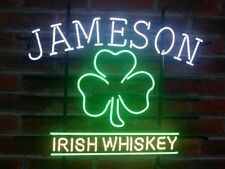 "Jameson Irish Whiskey Clover Neon Light Lamp Sign 24""x20"" Decor Glass Beer Bar"