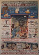 """""""Le FEU allumé par la BOMBE INCENDIAIRE"""" Affiche originale entoilée R.M. LECLERC"""
