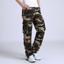 Men Camouflage Pant Cargo Straight Leg Trousers Military Arm Multi Pocket Casual