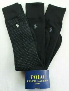 Polo Ralph Lauren Men's Dress Socks 3 Pairs Pack L Black Solid Square Pony New