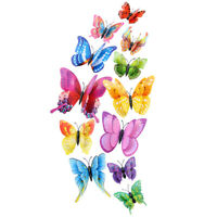 12PCS 3D Butterfly Wall Stickers DIY Removable Simulation Mural Wall Decals