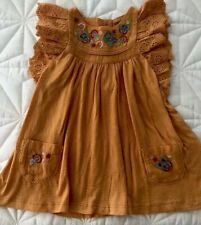 Next Girls Rust Frill Sleeve Embroidered Dress - 6-9 Months - RRP £15 - NEW