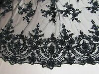 Black French Design Embroider And Beaded On A Mesh Lace. Wedding/Prom/Fabric.