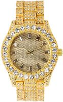Fully Iced Men Gold Watch Bling Rapper Simulate Diamond Band Hip Pop Luxury Dail
