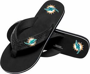 Miami Dolphins NFL Women's Sequin Strap Sandals Flip Flops Size Small (5/6) NWT