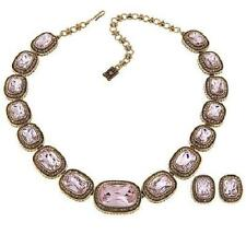 "Heidi Daus ""Exquisite Elegance"" Necklace & Earrings Set Pink Pierced $290 Retail"