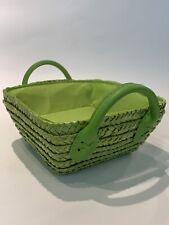 M Pop Green Square Basket Straw Wicker Home Storage Hamper Fake Leather Handle