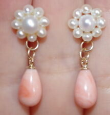 GORGEOUS VINTAGE 14K CULTURED SEED PEARL STUD W TEAR DROP CORAL EARRINGS JACKETS