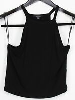 AMBIENCE Large Women's Top Sleeveless Halter Strap Cropped Ribbed Knit Black