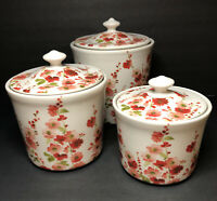 222 Fifth Belicia Red Porcelain Fine China 3 Pc Canister Set Pink Floral w/ Lids