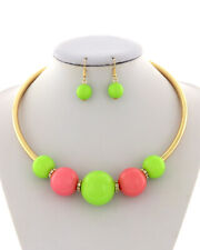 Neon Green, Pink Acrylic Chunky Ball Gold Tone Necklace and Earring Set