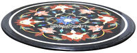 Round Black Marble Coffee Table Top Mosaic Inlay Floral Semi Precious Arts H2969