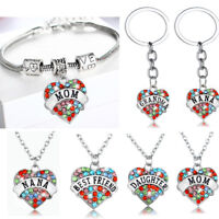 Gifts For Mom Grandma Bracelets Women Necklace Heart Pendants Chain Jewelry New