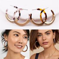 1 Pair Fashion Women Acetate Acrylic Resin Round Circle Hoop Earrings Jewelry