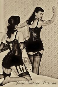 """Two Burlesque Women Nylon Stockings Garters & Corsets 4""""x6"""" Reprint Photo BU59"""