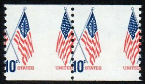 1519 10¢ Flag coil misperf pair MNH