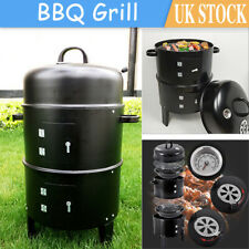 3 in 1 Charcoal Barbecue Smoker Outdoor Garden BBQ Grill with Temperature Gauge