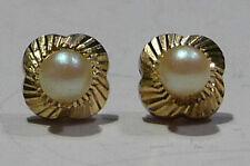 Cultured Pearl & 9ct Faceted Gold Stylized 4 Petal Flower Post Pierced Earrings