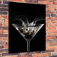 "Martini Glass Splash Wall Art Printed Box Canvas Picture A1.30""x20"" 30mm Deep"