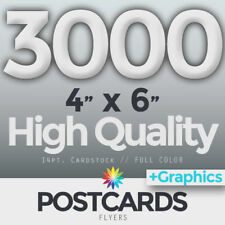 """3000 Full Color 4""""x6"""" POSTCARDS/FLYERS - BOTH SIDES - FREE DESIGN & SHIPPING"""