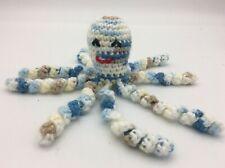 "Crochet Handmade Baby Octopus Toy Lovey Gift Newborn Preemie Blue Khaki 7"""