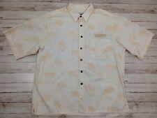 Mens U of O Oregon Ducks Palm Trees Cream Button Down Short Sleeve Shirt Size XL