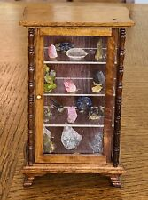 Vintage Miniature Dollhouse Glass Cabinet Wood With Crystals & Minerals Stones