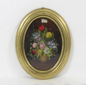 """R. Rosini Oil Painting Still Life Flowers Oval Wooden Gilt Frame 9"""" Art Signed"""