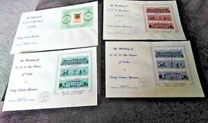 Barbuda 1981 Royal Wedding Four Miniature Sheets on FDCs