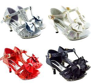 Filles Enfants Bas Chaton Talon Strass Noeud Chaussures Fête Mariage Taille 6-2