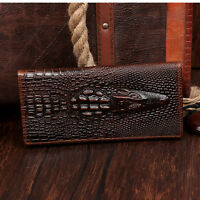 Men's Genuine Leather Cowhide Brown Bifold Long Wallets Money Card Holder Purse