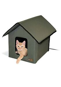 K&H Pet Products 3993 Outdoor Heated Kitty House  - Olive