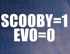 Scooby = 1 Evo = 0 Novedad car/window/bumper Vinilo Adhesivo Para Subaru Impreza