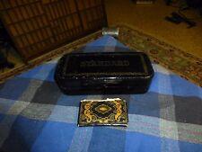 Antique STANDARD Sewing Machine Attachment Metal Box W/ Attachments & Pouch