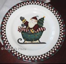 Debbie Mumm Sakura SANTA'S SPIRIT Sleigh Salad Dessert Stoneware Plate Dish New