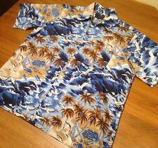 Vintage 1980's Van Cort Hawaiian Aloha Print Poly Ss Korea Large L Nice