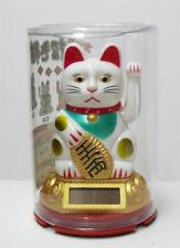 """3"""" Solar Powered Moving Hand White Maneki Neko Lucky Cat Cute and Mini"""