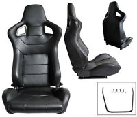 NEW 2 RED /& BLACK RACING SEATS RECLINABLE W// SLIDER ALL CHEVROLET ***